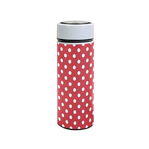 ZZKKO - Botella de agua de acero inoxidable con diseño de lunares, color rojo y blanco