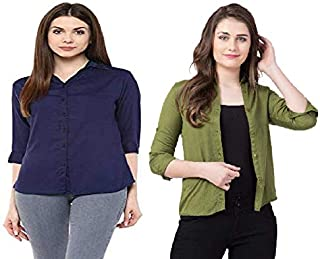 FUNDAY FASHION Women Solid Casual/Formal Button Down Shirt (Pack of 2)