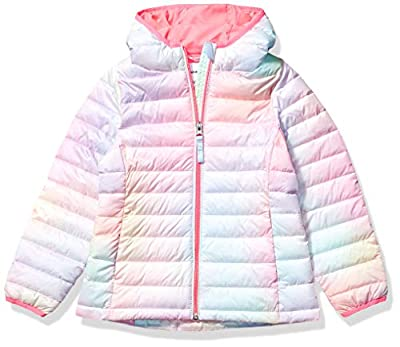 Amazon Essentials Girl's Lightweight Water-Resistant Packable Hooded Puffer Jacket, Ombre Pink, XX-Large