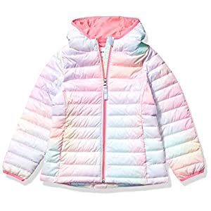Amazon Essentials Girls' Lightweight Water-Resistant Packable Hooded Puffer Jacket
