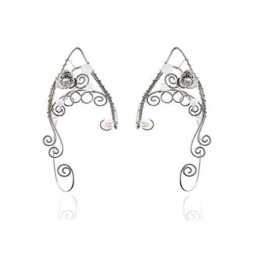 Yolmina Elf Ear Cuffs, Handmade Clip-on Earrings - Pearl Wing Tassel Filigree Elven Cuff Wrap Earrings for Women - Fantasy Fairy Halloween Costume, Cosplay, Wedding, Handcraft