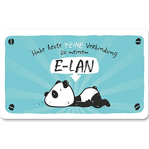 Hope und Gloria 45669 Schneide-Brett mit Tier-Motiv Panda-Bär, Frühstücks-Brettchen mit Spruch Habe heute keine Verbindung zu meinem E-LAN, aus Resopal, 14,3 cm x 23,3 cm x 0,2 cm