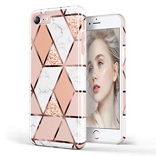 Doujiaz, custodia per iPhone 7, iPhone 8, iPhone 6, 6S, in morbido silicone e poliuretano termoplastico, con glitter luccicanti, con griglia color oro rosa Rose Gold grid