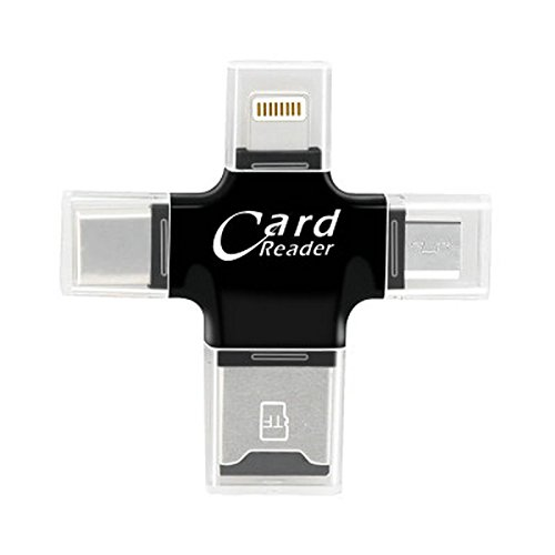 4 in 1 Type-c/Lightning/Micro USB/USB 2.0 geheugenkaartlezer Micro SD-kaartlezer voor iPad/iPhone Android Phone OTG-lezer