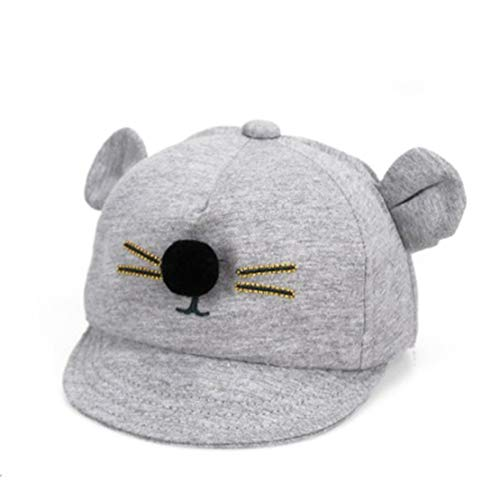 Sanzhileg Breathable Cartoon Cat Design Baby Hat Baseball Cap Cute Cotton Baby Boys Girls Summer Sun Hat Comfortable Baby Cap - Light Gray