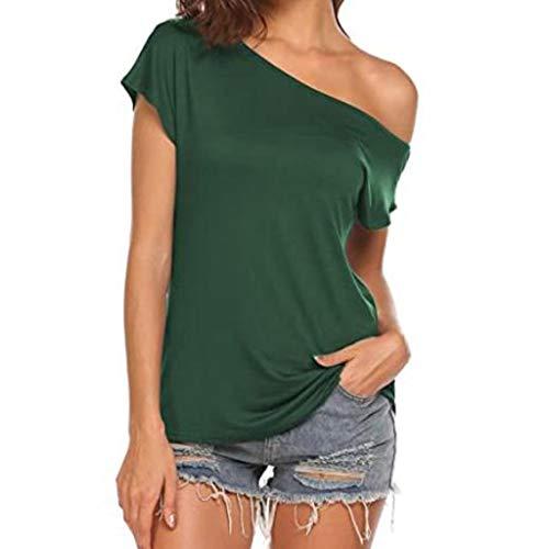YANFANG Camisetas Manga Corta Mujer de Color sólido, Mujeres Casual Off Shoulder Tops Camisetas de Manga Corta Blusa de Verano Suelta Camisa