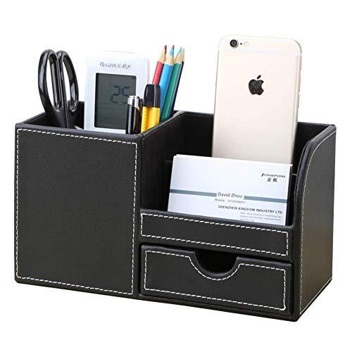 KINGFOM Büro Schreibtisch Organizer Ordnungssystem 4 Speicherabteil PU Leder Stiftebox Stifteköcher Bürobedarf (Schwarz)