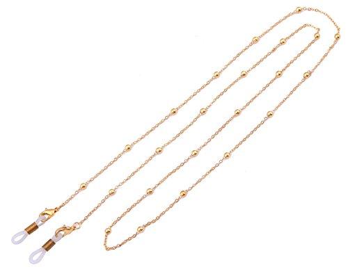 Likgreat Brillenkette für Damen, Perlenkette für Lesebrillen, Sonnenbrillen, Brillenhalter Gold, White Connector