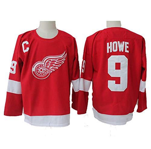 Yajun Gordie Howe#9 Detroit Red Wings Eishockey Trikots Jersey NHL Herren Sweatshirts Atmungsaktiv T-Shirt Bekleidung,L