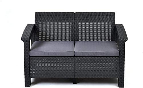 KETER Corfu Resin Wicker Loveseat with Outdoor Cushions – Patio Furniture Perfect for Front Porch Décor and Poolside Love Seats, Grey (Set of 1)