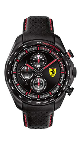 Ferrari Men's SPEEDRACER Stainless Steel Quartz Watch with Leather Calfskin Strap, Black, 22 (Model: 0830647)