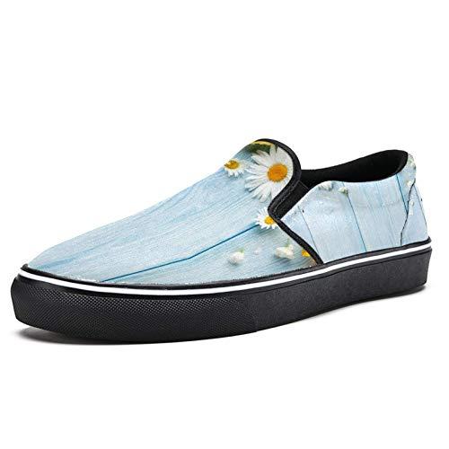 Zapatillas de correr para mujer Jardín Flores en azul tablero de madera zapatillas de deporte de moda malla transpirable caminar senderismo tenis zapatos, color Multicolor, talla 40.5 EU