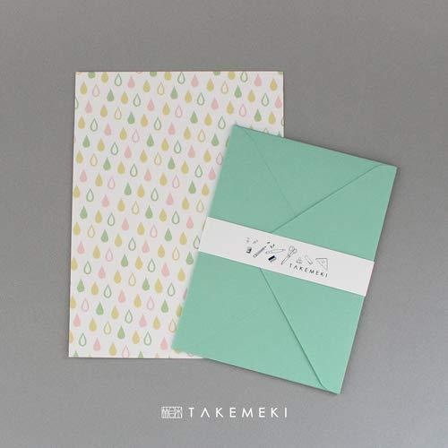【TAKEMEKI】レターセット 緑(便箋10枚封筒3枚入り)かわいい おしゃれ 大人 カラフル 手紙 贈り物 シンプル 定形 セット 日本製 柄 オリジナル