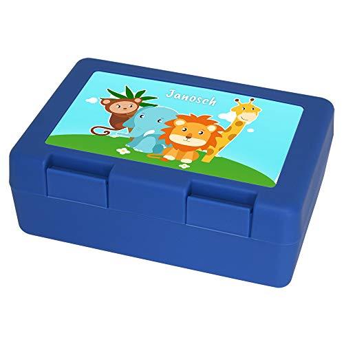 Brotdose mit Namen Janosch und Tier-Motiv mit AFFE, Elefant, Löwe und Giraffe für Jungen | Brotbox blau | Vesperdose | Vesperbox | Brotzeitdose mit Vornamen