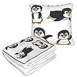 KIMDFACE Manta de Viaje súper Suave,Caricatura Lindo Pingüino Agitando Parado Deslizándose Sonriendo Humor Animal Antártida,Manta Plegable,Almohada cómoda