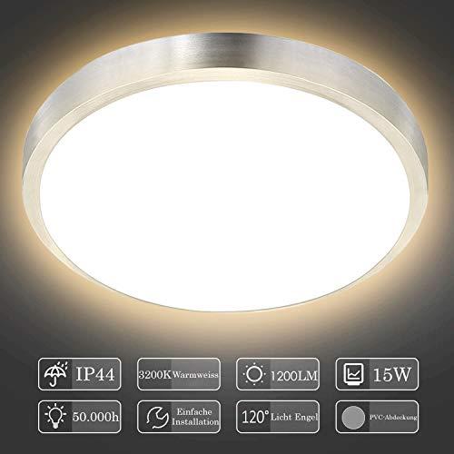 Hengda LED Deckenleuchte 15W Deckenlampe Badezimmer Warmweiss 1200LM Rund Badlampe Innen Modern Wohnzimmerlampe für Bad, Flur, Küche, Balkon, Schlafzimmer usw