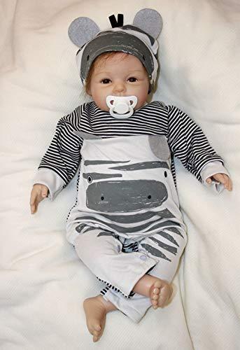 ZIYIUI Muñecas Reborn Bebe 22 Pulgadas Reborn Niño 55 cm Muñeca Reborn Realista Ojos Abiertos Bebé Recién Nacido Hecho a Mano Reales Silicona Suave Vinilo Juguete Realidad Niño