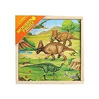 木製スリーインワントラフィック恐竜動物木製箱入り両面パズル