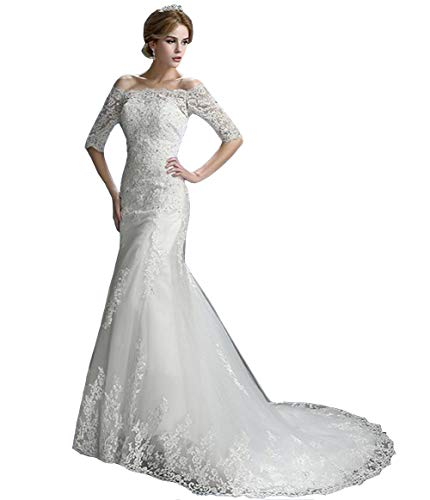 Emmani Women's Off The Shoulder Mermaid Wedding Dress 1/2 Sleeves Lace Bridal Gown with Train White
