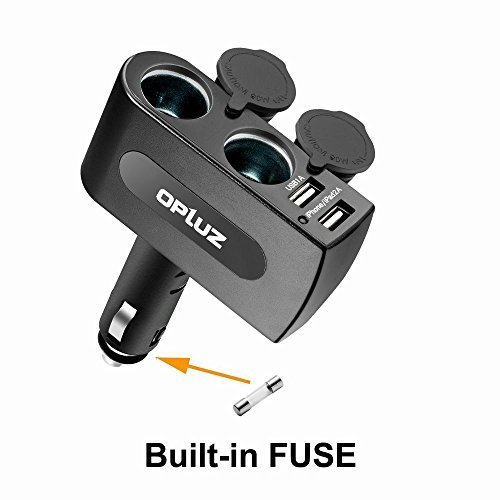 Opluz Cargador de Coche 2 Puertos USB Adaptador de Coche con Doble Encendedor de Cigarrillos USB Adaptador Encendedor Mechero de Coche con Doble Tomas Salidas para iPhone iPad samsungTablets GPS