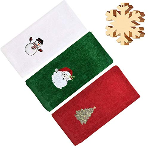 3Packs Christmas Cotton Hand Towels Soft Absorbent Cotton Kitchen Towel, Lightweight with 10PCS Unfinished Ornament Set