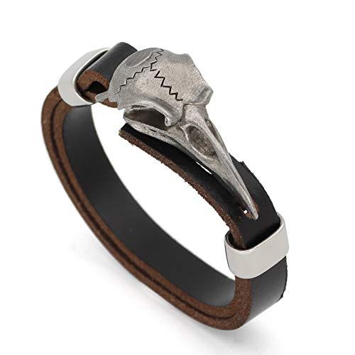 HYXHX Norse Viking Odin Raven Armband, Verstellbares Echtleder-Amulett, Keltischer Heidnischer Talisman-Gothic-Armbandschmuck