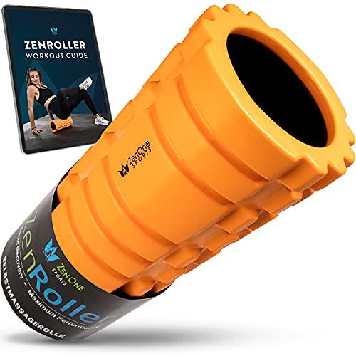 ZenRoller Faszienrolle, Massagerolle zum Lösen von Verklebungen & Muskelverhärtungen, Foam Roller zur Triggerpunkt-Massage, fördert Durchblutung & Regeneration, inkl. E-Book & Übungsposter (Orange)