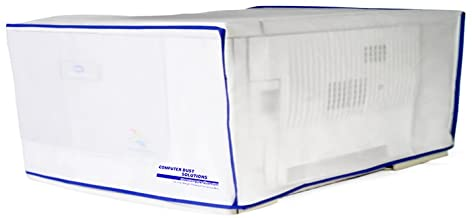 COMPUTER DUST SOLUTIONS Printer Dust Cover, Covers Inkjet or Laser Printers, Silky Smooth Antistatic Vinyl, Translucent Coconut Cream Color with Blue Trim, Several, (18W x6H x14D)