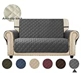 Ameritex Loveseat Cover Waterproof Stay in Place, Furniture Protector, Loveseat Slipcovers for Dogs (46', Dark Grey)