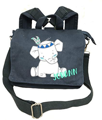 2in1 Kindergartenrucksack mit Namen, Kindergartentasche mit Namen, Kinderrucksack, Rucksack Kinder, Personalisieren und Bedrucken, Indianer Elefant