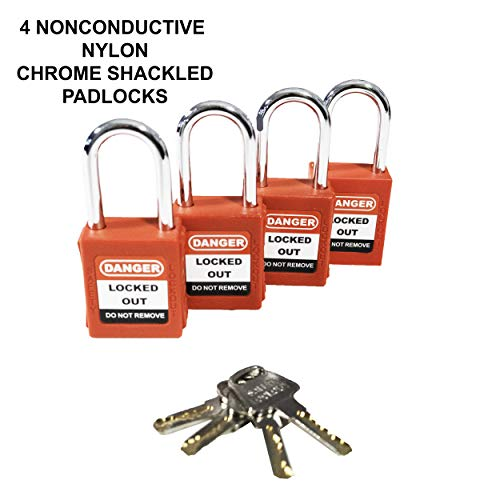 TRADESAFE Breaker Lockout Tagout Electrical Loto Kit Devices for Station Refill Tags Hasps 120//277V to 480//600V Circuit Lock Outs Set Includes Keyed Different Red Safety Padlocks 2 Keys