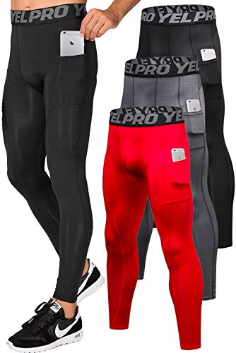 Lavento Men's Compression Pants Running Tights Leggings with Phone Pockets (3 Pack-3911 Black/Gray/Red,Medium)