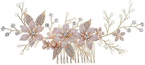 Auoeer Blume Perlenhaarkamm Kristall Braut Haar Kamm Elegante Perle Haarstück Kristall Haarschmuck Für Frauen Dame Mädchen