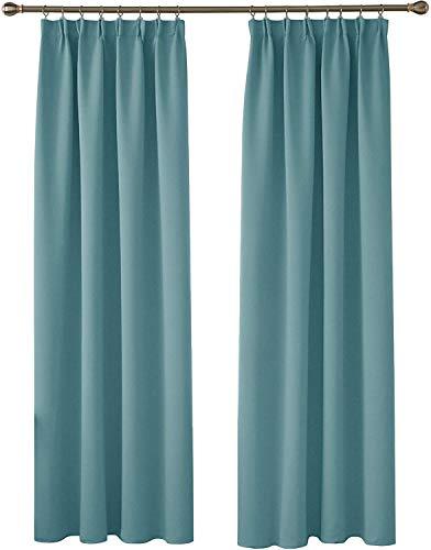 Deconovo Cortina Opaca de Salón Moderna Aislante Luz Dormitorio Juvenvil con Bolsillos 1 Par 140 x 245 cm Azul Cielo