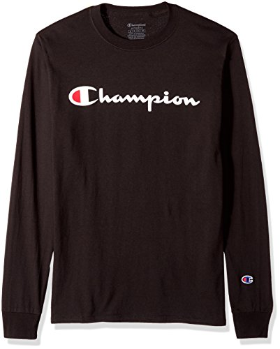Champion Men's Classic Jersey Long Sleeve Script T-Shirt, Black, Med