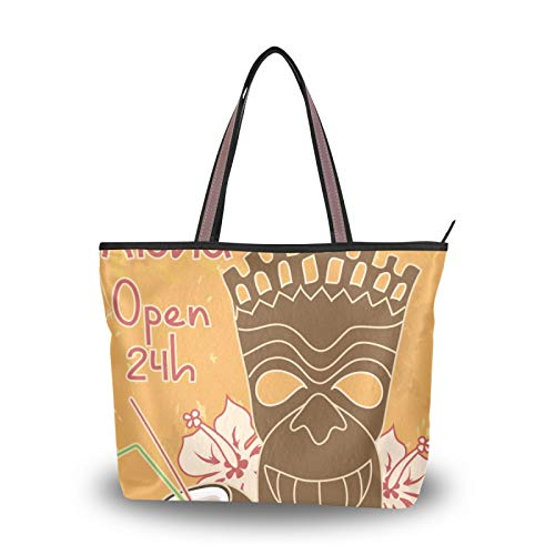 NaiiaN Einkaufstasche Geldbörse Shopping Handtaschen Tiki Bar Aloha Öffnen Sie die Kokosnuss Leichtgewicht Gurt Umhängetaschen für Mutter Frauen Mädchen Damen Student