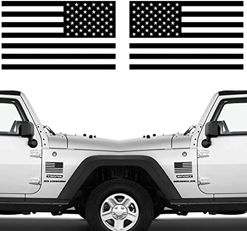 Die Cut Subdued Matte Black American Flag Sticker 3' X 5' Tactical Military Flag USA Decal Great for Car, Hard Hat. Car Vinyl Window Bumper Decal Sticker (1 Pair)