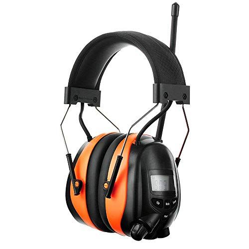 PROTEAR Bluetooth AM FM Radio Noise Reduction Safety Ear Muffs with Rechargeable Lithium Battery - Adjustable NRR 25dB Electronic Ear Hearing Protection lawn mower work headphones …