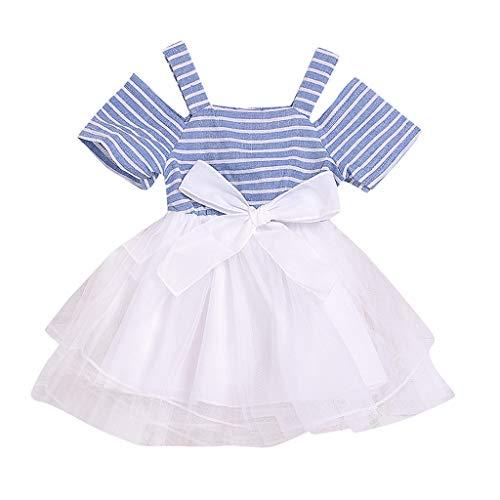 Baby - Mädchen Kleider Kleinkind Kinder Schleife Maschen Tutu Prinzessin Kleidung Kalte Schulter Streifen Patchwork Freizeitkleider Kurzarm Kurz Sommerkleid Outfits ( Blau, 100)
