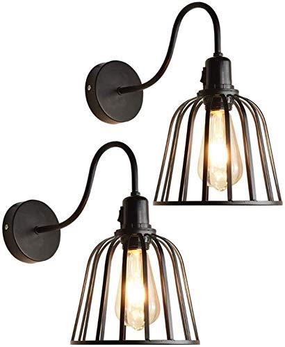 Lámpara de pared, 2 paquetes, luces colgantes de estilo industrial retro americano, barra de restaurante industrial, chandelier, luces de la isla del arte de la vendimia, la lámpara de pared E27 EDISO