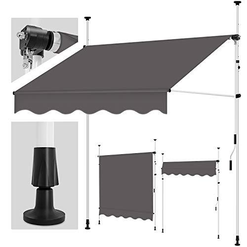 tillvex Klemmmarkise 300cm Anthrazit mit Handkurbel Balkon | Balkonmarkise ohne Bohren | Markise UV-beständig & höhenverstellbar | Sonnenschutz wasserdicht