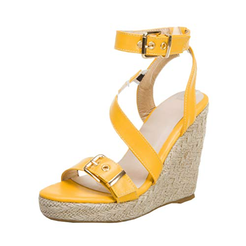MISSUIT Damen Keilabsatz High Heels Plateau Sandalen mit Riemchen Espadrilles Wedges Sandaletten Schnalle Schuhe(Gelb,37)
