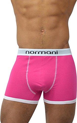normani 4 x Herren Unterhose Boxershorts Retro Pants Farbiger Mix Schwarz/Gemischt/Neutral Farben Baumwolle mit Elasthan Farbe Retro/Rosa Größe L