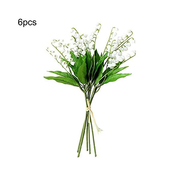 Beher Artificial Lily of The Valley Flowers Bush for Home Garden Wedding Bouquet for Decoration Centerpieces Arrangements