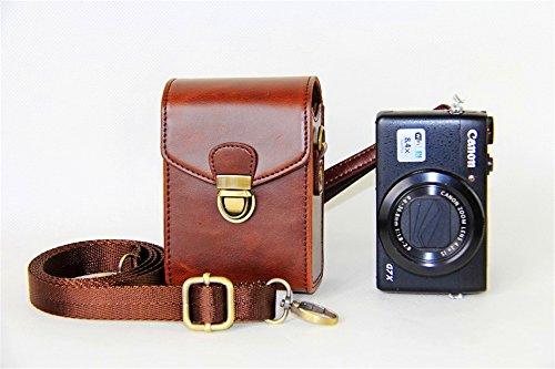 Zakao - Funda de piel sintética para cámara Canon Powershot G7X Mark II G1X2 G10 G11 G12...