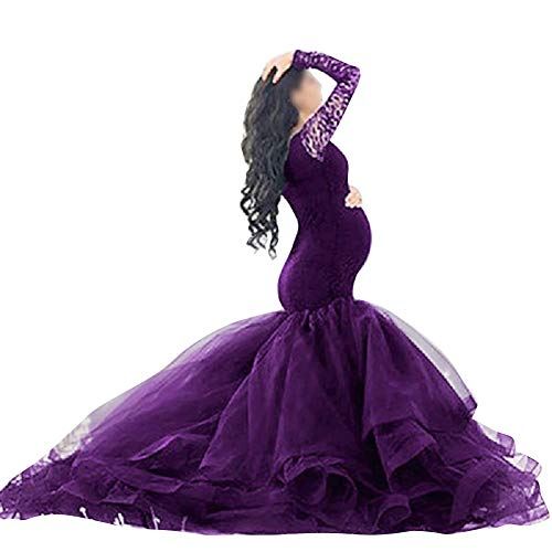 Women Maternity Lace V Neck Off Shoulder/Cross-Front Dresses Wedding Party Pregnant Photography Gown Photoshoot Baby Shower Gown Tired Mermaid Maternity Dress Z ~ Purple Medium