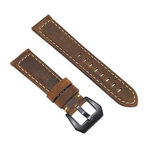 GZMYDF Banda de Reloj de Cuero Genuino de 20 mm de 22 mm para Amazfit para Huawei para Samsung Galaxy Watch Active2 46mm 42mm Gear S3 Strap Straps Reemplazo