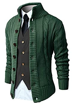 NITAGUT Mens Long Sleeve Casual Slim Fit Cardigan Cable Knitted Sweater Thermal Button Down Closure,Green,Large