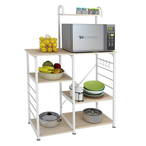 VANSPACE Indusrial Kitchen Baker's Rack Utility Storage Shelf Microwave Stand 4-Tier + 3-Tier Kitchen Storage Cart Table for Spice Rack Organizer Workstation with 5 Hooks - 35.5
