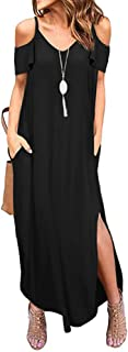 THANTH Womens Cold Shoulder Short Sleeve Ruffle V Neck Spaghetti Straps Side Split Loose Casual Beach Maxi Dress with Pockets